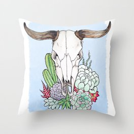 Steer Skull Throw Pillow