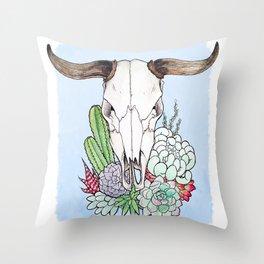 Steer Skull Throw Pillow