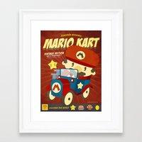 mario kart Framed Art Prints featuring mario kart vintage by danvinci