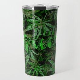 Just green - cannabis plant leaves #society6 Travel Mug