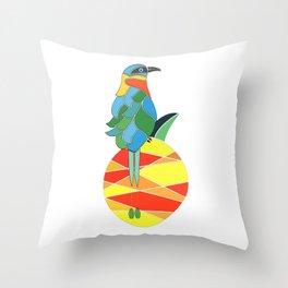 Bobo bird on a pineapple Throw Pillow