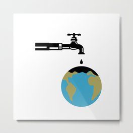 Faucet Dripping Water on Globe Retro Metal Print