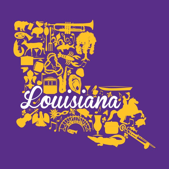 Lsu Louisiana Landmark State Purple And Gold Lsu Theme