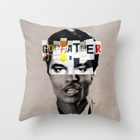 the godfather Throw Pillows featuring Godfather Mix 1 white by Marko Köppe