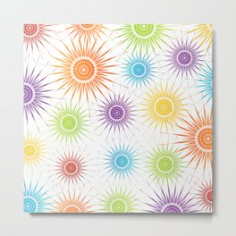 Colorful Christmas snowflakes pattern- holiday season gifts Metal Print