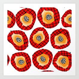 Irregular Red Circles with Black Cross Hatch Yellow Orange and Black Center. Art Print