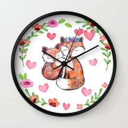 Mama Fox and Baby Wall Clock