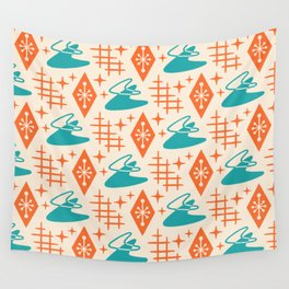 Mid Century Modern Space age Boomerang Pattern Turquoise and Orange 329 Wall Tapestry