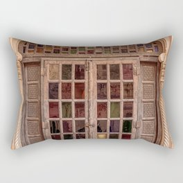 Wooden stained glass door at Jodhpur Fort, India Rectangular Pillow