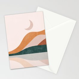 Sun and Moon Part 2, Mid CenturyTerracota Mountain Moon Abstrac Landscape Stationery Cards