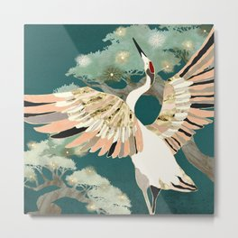 Golden Crane Metal Print