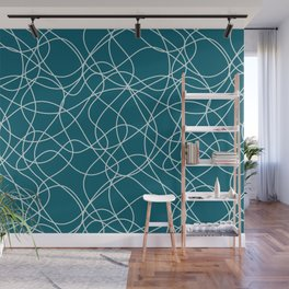 Pale Blue on Tropical Dark Teal Scribbled Lines Abstract Hand Drawn Mosaic Pattern Inspired by Sherwin Williams 2020 Trending Color Oceanside SW6496 Wall Mural
