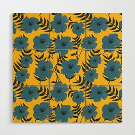 Blue Flowers with Banana Leaves with Yellow Wood Wall Art
