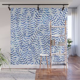 blue delicate leaves / watercolour pattern Wall Mural