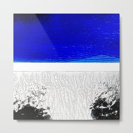 Blue river and a white landscape Metal Print
