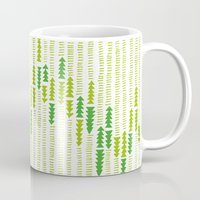 green arrow Mugs featuring Green Triangle Arrow Trees by Woodhaus Studio