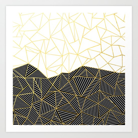 Ab Half and Half White Gold Art Print