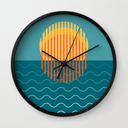 Minimalist Sunset Over Ocean, Holiday Print, Sun Set Poster, Large Printable Photography, Wall Art Wall Clock