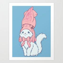 White Cat Wears Squid Hat Art Print
