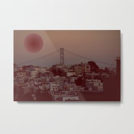 Bay Bridge and Red Globe - San Francisco Metal Print