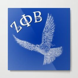 Zeta Phi Beta Dove (Blue) Metal Print