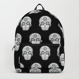 Día de Muertos Calavera • Mexican Sugar Skull – White on Black Backpack