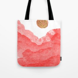 Red watercolor abstract mountains and moon Tote Bag