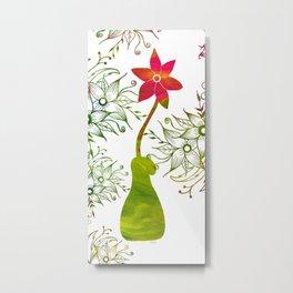Colorful Art Flower Vase Metal Print