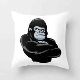 angry  gorilla.black gorilla Throw Pillow