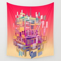 building Wall Tapestries featuring Building Clouds by FalcaoLucas