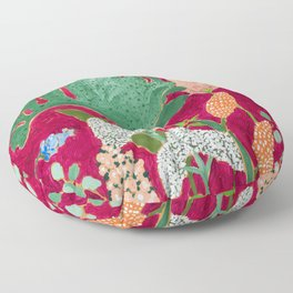 Fuchsia Pink Floral Jungle Painting Floor Pillow