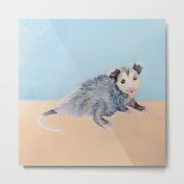 Happy Smiling Baby Opossum Watercolor Mixed Media Piece Metal Print