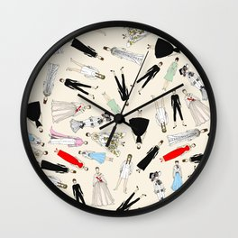 Audrey Fashion Vintage Retro in Cream Wall Clock