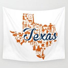 UT Austin Texas Landmark State - Blue and Orange UT Theme Wall Tapestry