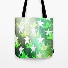 Patriotic Stars and Cannabis Design Tote Bag