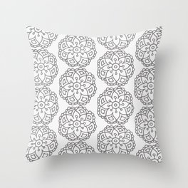Silver grey lace floral Throw Pillow