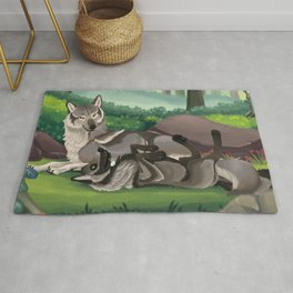 Romantic Wolf Couple in Forest Rug