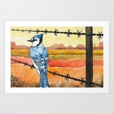 Blue Jay in the Desert Art Print