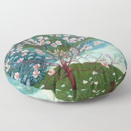 Springtime Pink Magnolias by the Kettle Pond landscape by Wilhelm List Floor Pillow