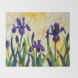 Watercolor Wild Iris on Wrinkled Paper Throw Blanket