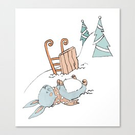 Bunny Sledding Canvas Print
