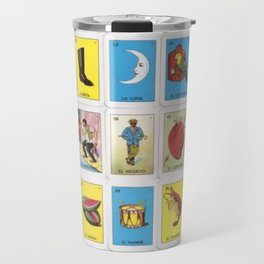Mexican Loteria Bingo Card Spanish Tarot Card Design Travel Mug