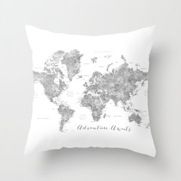 Adventure awaits... detailed world map in grayscale watercolor Throw Pillow