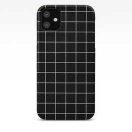 Grid Line Stripe Black and White Minimalist Geometric iPhone Case