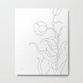 Minimalist tulips drawing - two flowers line art. Metal Print