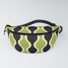 Classic Retro Ogee Pattern 937 Black and Olive Green Fanny Pack