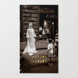 Future Therapy Dante Street Performer and Child in Florence Italy Canvas Print