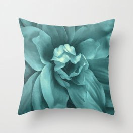 Soft Teal Flower Throw Pillow