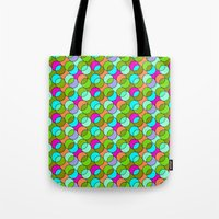 70s Tote Bags featuring 70s retro circles,green by MehrFarbeimLeben