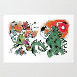 Godzilla vs Biollante a'la DANG Art Print